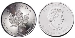 Canadian Maple Leaf Pure Silver Coin